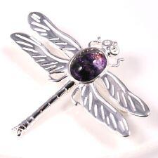 Silver / Blue John Dragonfly Brooch (Solid Wing)