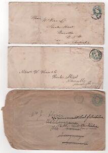 1905 to 1935 GB KEVII & KGV - 3 x Covers LONDON to PERTH & NEWCASTLE AUSTRALIA
