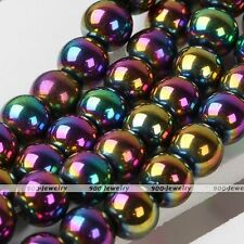 6mm Rainbow Magnetic Hematite Round Loose Bead Charm Jewelry Findings Making DIY