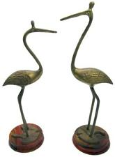 Brass Heron Stork Water Bird Sculpture Set 2 Wood Plinth 60s Vintage 30 cm Tall