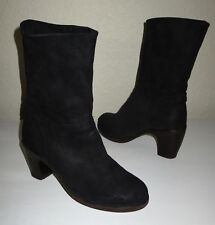 Women FIORENTINI + BAKER Black Suede Leather Cuffed Foldover Heel Ankle Boots 35