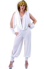 Women Kylie Minogue Singer White Hooded Jumpsuit Music Video Fancy Dress Costume