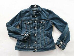 J Crew Womens Stretch Denim LS Button Down Dark Wash Jean Coat Jacket Medium