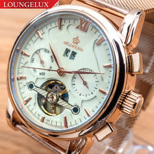 Mens Flywheel Mesh Band Quality Luxury Bling Skeleton Automatic Mechanical Watch
