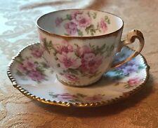 Elite Works Limoges France Flower Pink Cup And Saucer Demitasse