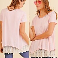 Umgee Top Size XL S M L Solid Blush Floral Lace Heathered Tunic Womens Shirt New