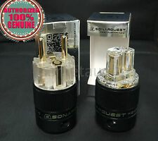 SONARQUEST 24K Gold Plated IEC Connector and EU Schuko Plug power plug 1Set