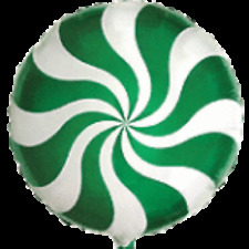 """GREEN CHRISTMAS CANDY CANE SWIRL 18"""" BALLOON FOR WILLY WONKA THEMED PARTY!"""