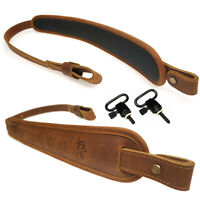 Leather Rifle Sling Gun Strap Non-slip Padded Range Shooting + 2X Screw Studs
