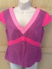 MONSOON 12 vgc LINEN purple pink block cap sleeve tunic blouse top V neck