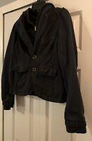 Anthropologie Hei Hei Hooded Blazer Jacket Womens SZ 10 Long Sleeve Cotton Black