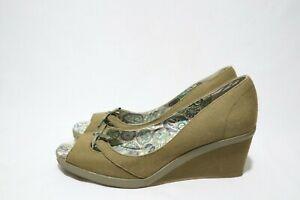 Keds Size 11 Womens Canvas Peep Toe Army Twill Platform Wedge #Decent & #Classy