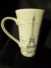 NEW 222 Fifth City Scenes Paris Black and White  Tall Latte Mug Holds 16 OZ.