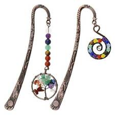 More details for 2 styles 7 chakra crystals stone beaded bookmarks tree of life & spiral charm