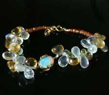 Sale: Opal, Peridot, Citrine, Moonstone Bracelet, 7.5 inches