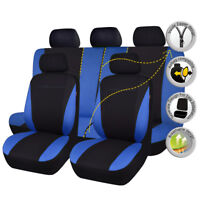 11 pcs universal Car Seat Covers washable black blue bench split 40/60 50/50