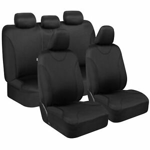 Black Car Seat Covers Universal Fit for Car Van SUV Truck - Full Set Split Bench