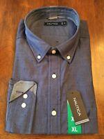 Nautica Men's Long Sleeve Button Down Sport Shirt XL only Navy Dot left!