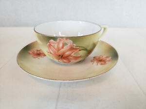 Antique R & S GERMANY Cup and Saucer with TIGER LILIES