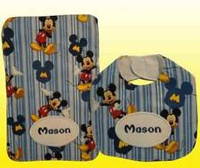 New Blue Personalized Handmade Mickey Mouse Print Bib and Burp Cloth Set