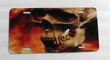 Skull Flames High Quality Photo License Plate 6 x 12 inches Made in the USA