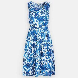Seasalt Cornwall Seamstress Cotton Watercolour Cargo Blue Floral Dress size 14