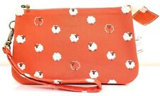 Sheep red fabric wristlet double zip pouch/clutch/wallet/pencil case/make up