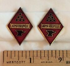 Lot of 2 US Army Arma Virumque Anvil Cannonball Diamond Enamel Pinback Pins