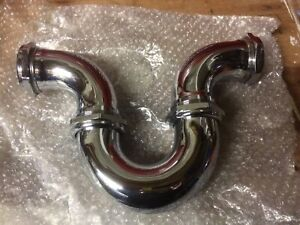 """CONEX CHROME RUNNING """"U"""" TRAP 54MM 2"""" FITTINGS WITH RUBBER SEALS PLUMBING PEGLER"""