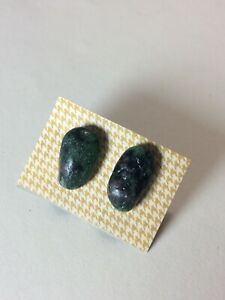 HANDCRAFTED NATURAL EMERALD STUD  EARRINGS
