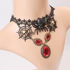 Gothic Spider Web Crystal Pendant Lace Collar Necklace Halloween Jewelry Gift SS
