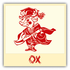 "Ox Chinese Zodiac Sheng Xiao Humor Sign Car Bumper Sticker Decal 5"" x 5"""
