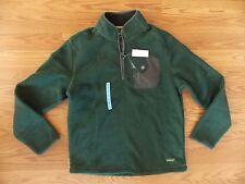 NEW G.H. Bass Men's Green Arctic Terrain 1/4 Zip Mock Neck Fleece L Large