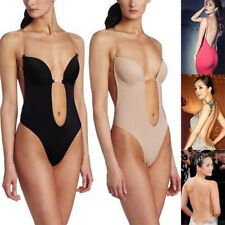 Backless Push Up Bra Deep Plunge Thong Full Body Shaper Suit Clear Straps  32-38 53e6b1ebb