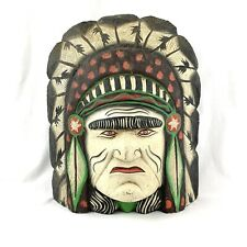 Vintage Original Folk Art Hand Carved Wood Indian Head Handpainted 16 x 13.5 x 7