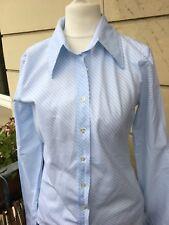 BENETTON Bluse hellblau/weiß Streifen klassisch Baumwolle Größe S neuwertig