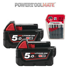 Milwaukee Genuine M18B5 Twin Batteries with 10 Pce Pozi Screwdriver 4932352980
