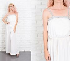 Vintage 70s White Maxi Dress Silver Sequin Boho Hippie XS