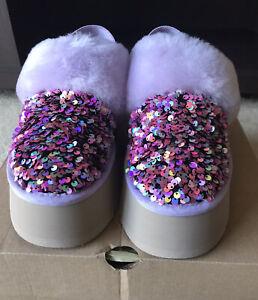 NIB UGG Funkette Flatform Stellar Sequin Slippers Sz 10 Pretty Lilac Frost Color