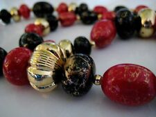 Vintage Beaded Strand String Necklace Resin Red Black Gold Swirl 24 inches