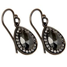 Black Oxidized Solid 925 Silver Pyrite Dangle Earrings Gemstone Jewelry