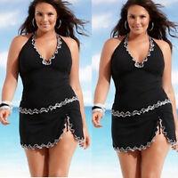 Plus Size Women Push-up One-piece Swim Dress Swimsuit Bikini Swimwear Tankini