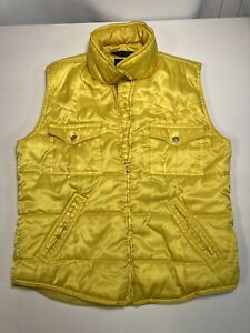 Tommy Hilfiger Jeans Women Insulated Puffer Vest Zip Up Bright Yellow Vintage M