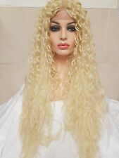 """Blonde human hair Lace Front wig, Bleach Blonde, lace front, curly, perm 34"""""""