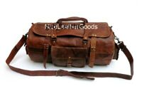 New Genuine Leather Round Duffel Men's Overnight Carry Traveling Luggage Gym Bag