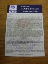 Programma di rugby 22/09/2012: NUOVA souh Galles Rugby le finali di periferia - 6 finale