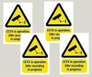 4 Large Warning CCTV camera WINDOW stickers signs decals A5 210 x 148mm