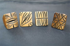 Wholesale lot 4pcs Large Tibetan Carved Auspicious Pattern Yak Bone Amulet Ring