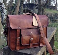 "15"" Handcrafted Mallette Designer Rétro Chic Rustic Leather Laptop Satchel Bag"