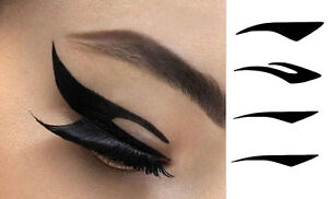 Temporary Eye Make up Tattoo Pack. 4 Pairs of Black Tattoos.